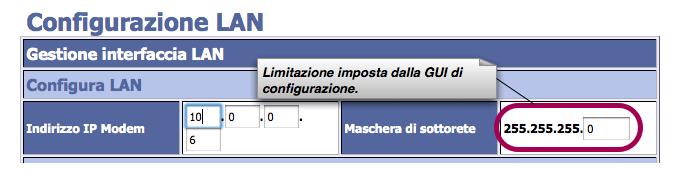 Modifica indirizzo IP LAN da GUI.