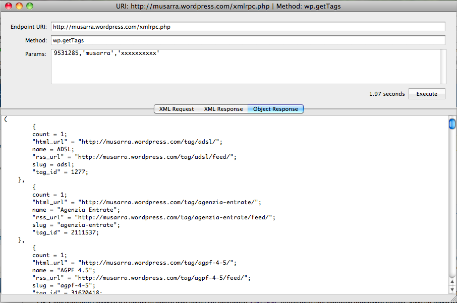 Response of wp.getTags XML RPC API (in Object view mode)