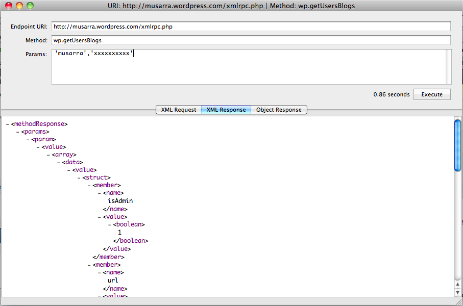 Response wp.getUsersBlogs XML RPC API