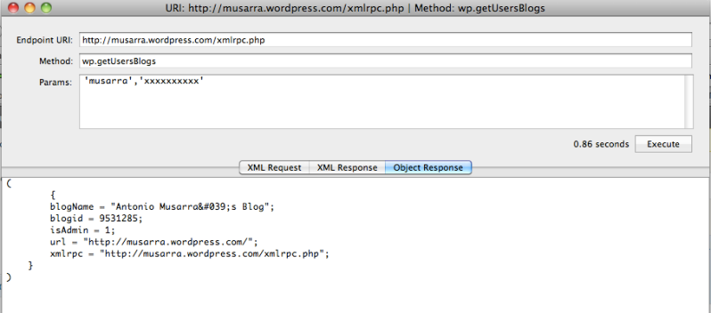 Response wp.getUsersBlog XML RPC API (in Object view mode)