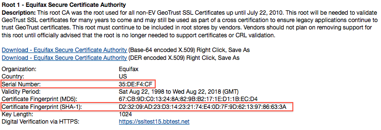 GeoTrust Root Certificate
