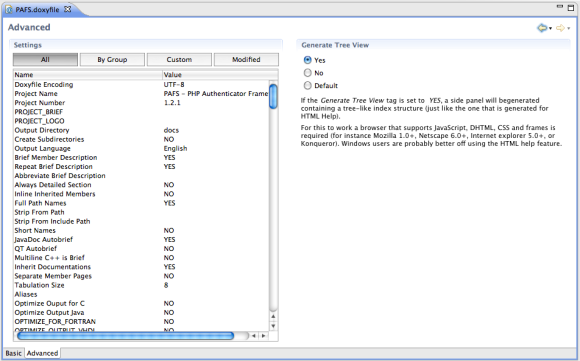 Figure 6 Interface (advanced mode) for editing the Doxyfile.