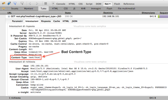 Bad Content-Type SugarCRM REST API Interface