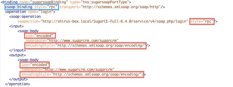 WSDL Web Services di SugarCRM RPC/Encoded