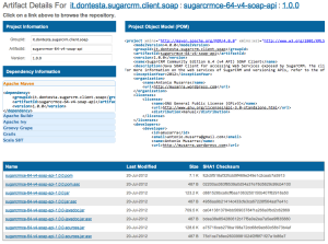 Artifact Detail of the SugarCRM Client