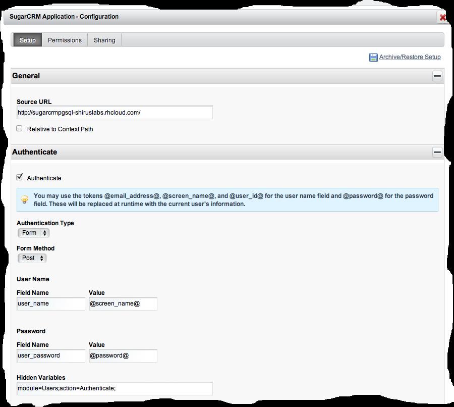Figura 1 Configurazione iFrame Portlet per SugarCRM.