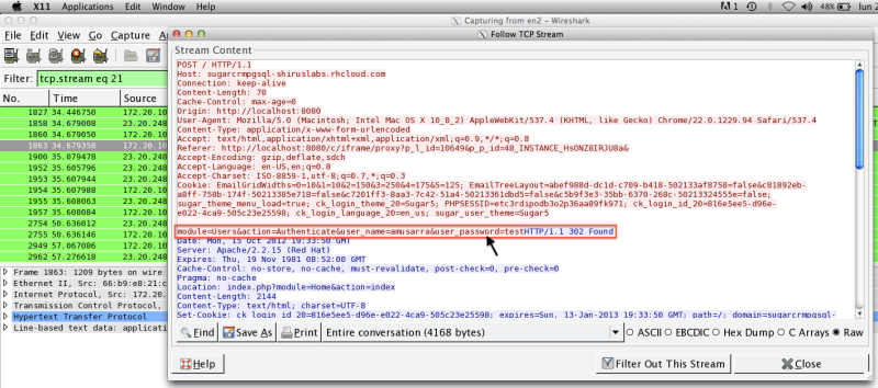 Figure 5 - Sending the password to the instance of SugarCRM