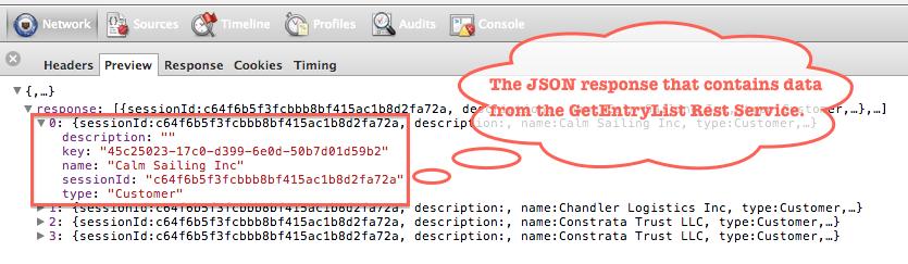 Struttura JSON della lista degli account