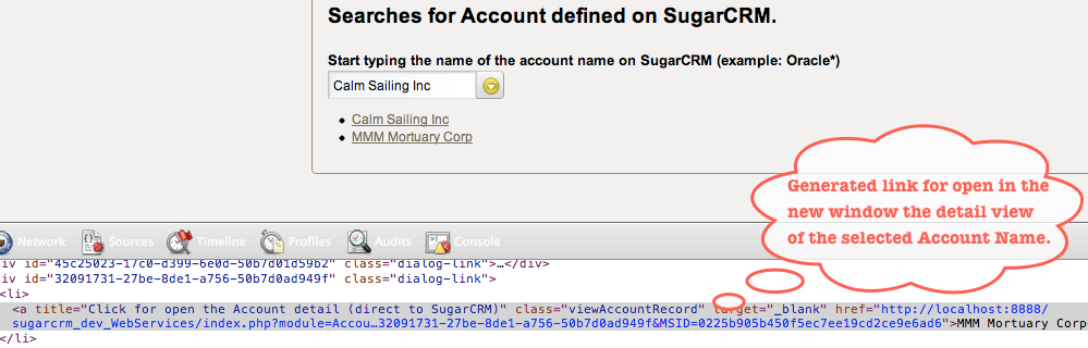 Figura 7. Detail of the generated link to view account details