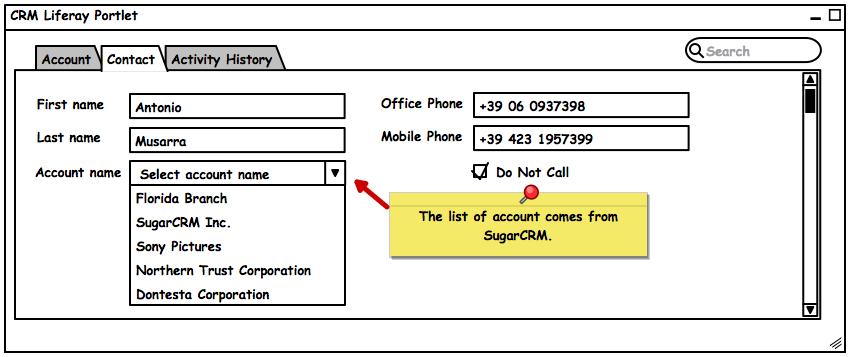 CRM Liferay Portlet Example