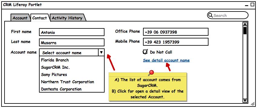 CRM Liferay Portlet con link al dettaglio Account