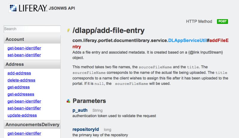 Liferay JSON WS API List