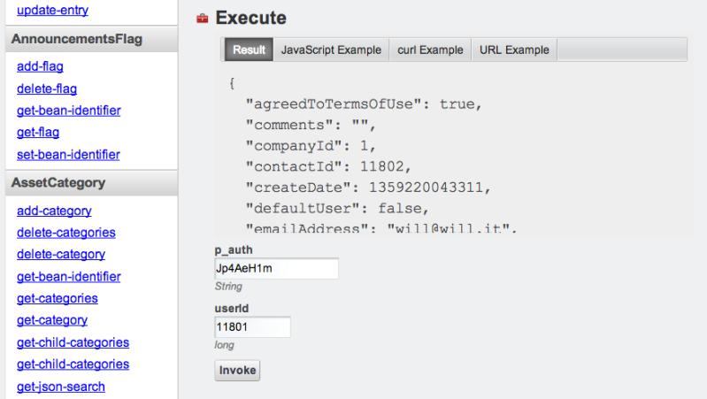 Figure 2. Execute a test on JSON user API